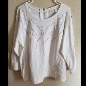 Chicos Collection White Sequin Zip up Knit Blouse
